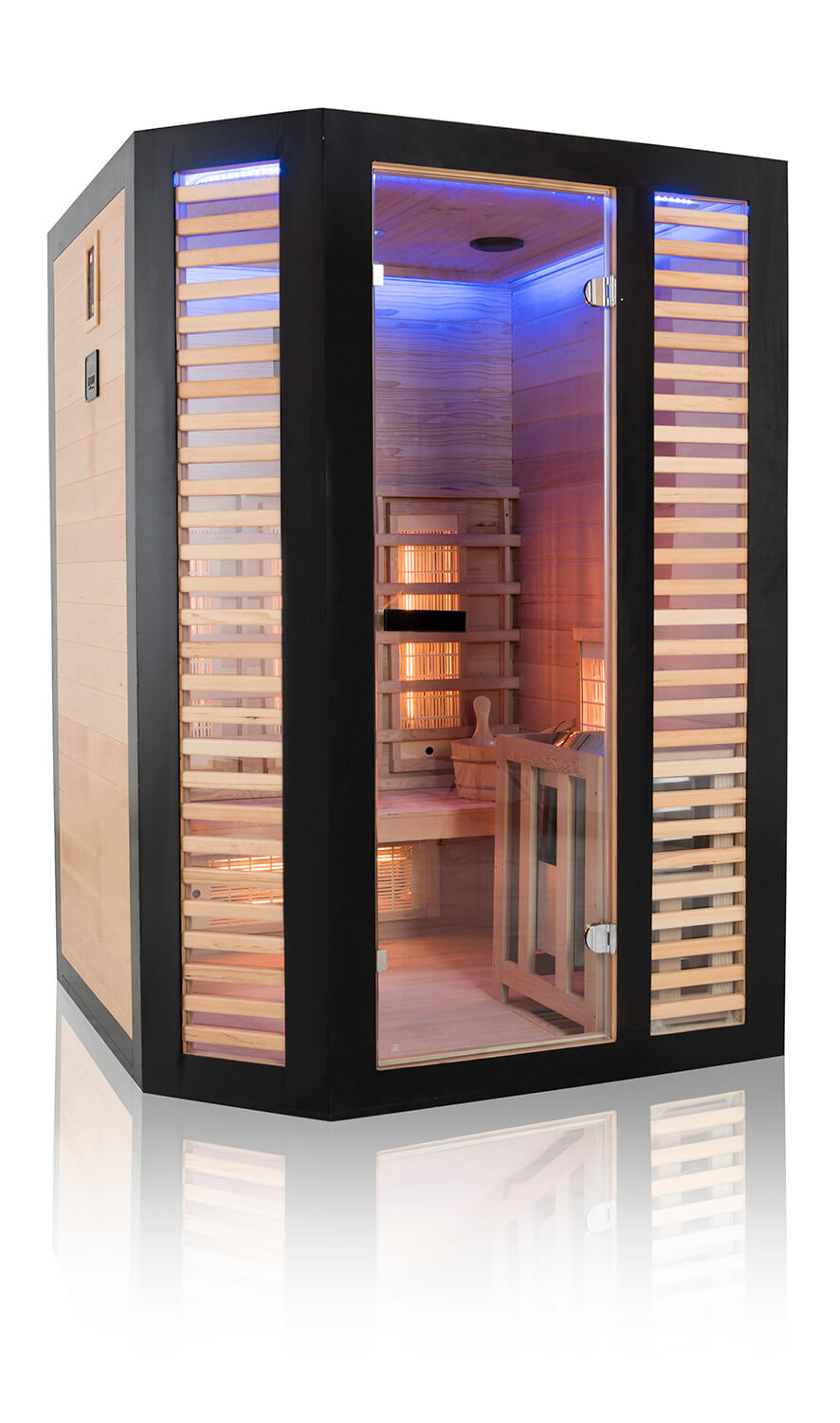 Sauna Hybride Graphite - 2/3 places + pôele 3,5 kw + pierre - reconditionné