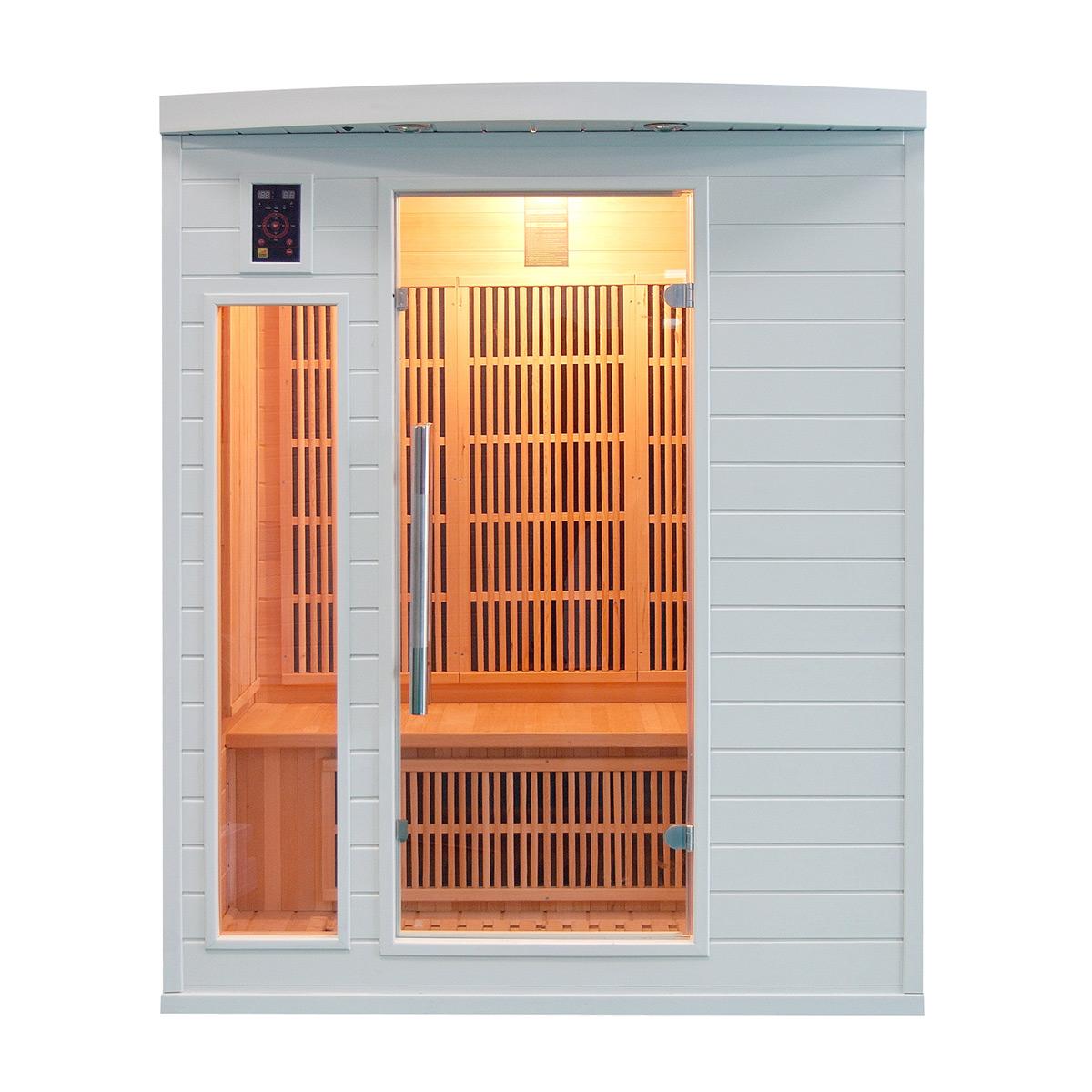 Piscinex sauna soleil blanc sauna infrarouge soleil blanc 3 places - Sauna infrarouge 3 places ...