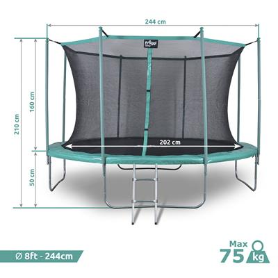 Trampoline Froggy Sky 8ft - 244 cm reconditionné