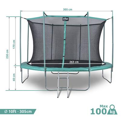 Trampoline Froggy Sky 10ft - 305 cm reconditionné