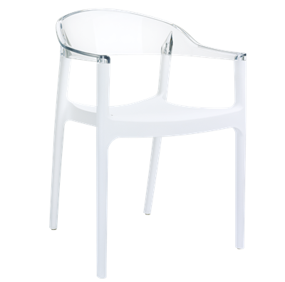 Chaises SOUZA blanc transparent lot de 4